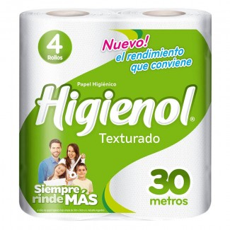 ROLLO PAPEL HIGIENOL TEXT. PAQ. 4X30MTS