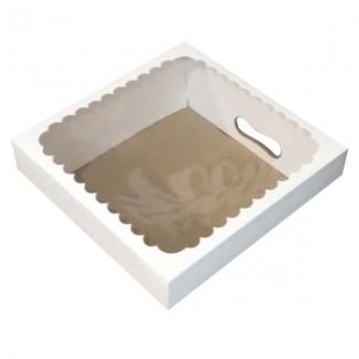 TAPA BLANCA C/VENTANA PLASTICA 30x30x12 cm